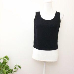 St. John Black Knit Sweater Tank Top Blouse
